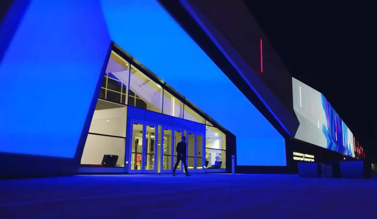 museum at night with blue led lights
